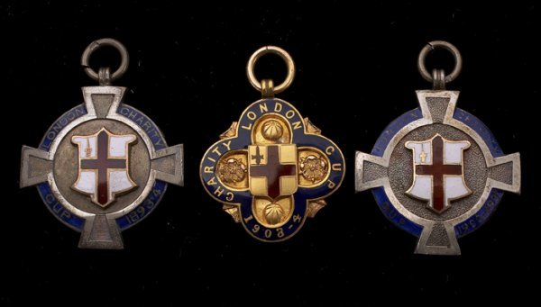 675: A group of three London Charity Cup medals won by