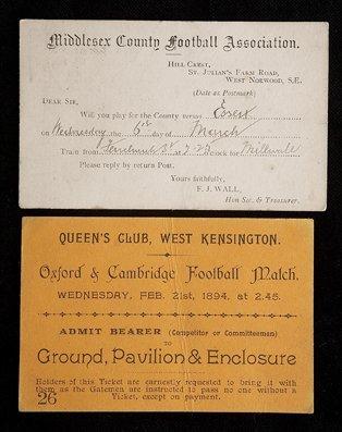 687: A match ticket for the Oxford v Cambridge Universi