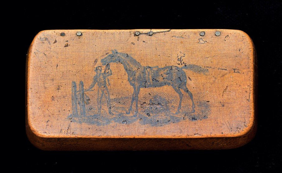 1: A Victorian wooden snuff box presented to the jockey