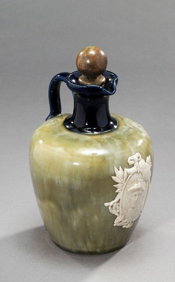 2: An Edwardian Royal Doulton flask & stopper commemora
