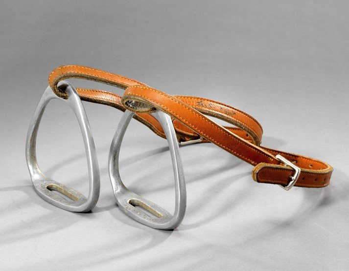 23: A signed pair Lester Piggott race-used stirrups, bo