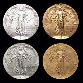 64: A complete set of four participation medals for the