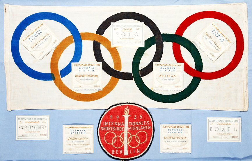 268: A 1936 Olympic Games display including an official