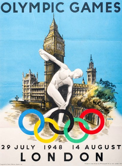 332: An official poster for the 1948 London Olympic Gam
