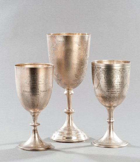 7: A trio of silver goblets awarded as point-to-point t