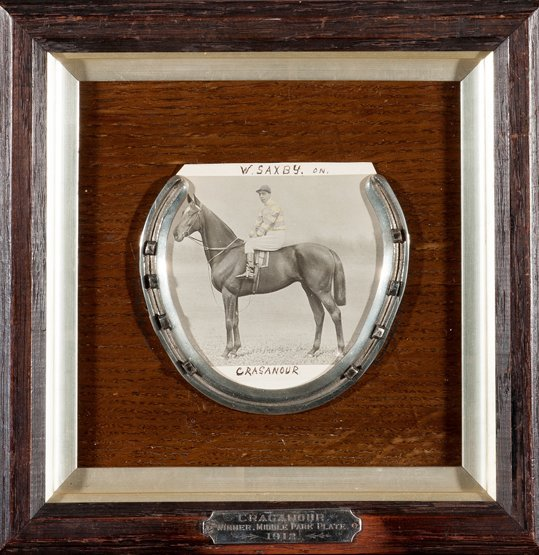 8: A racing plate worn by Craganour when winning the Mi