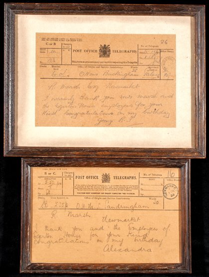9: Two telegrams sent to the royal racehorse trainer Ri