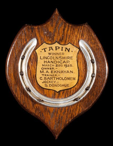 12: A racing plate worn by Tapin when winning the Linco