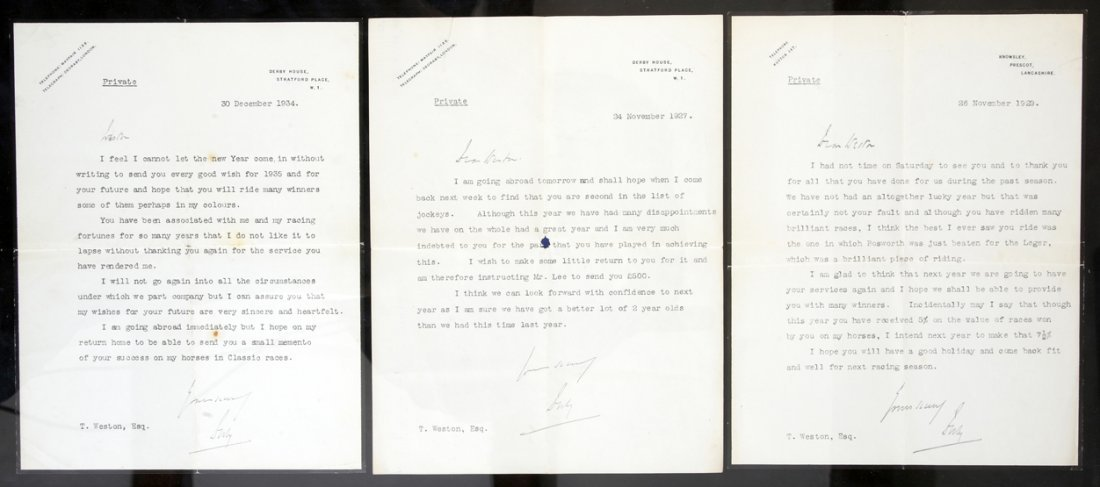 13: A trio of signed letters from Lord Derby to his joc
