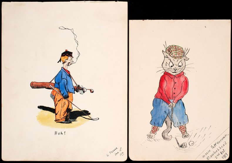 329: Two golf caricatures by the artists Jessie S. McKe