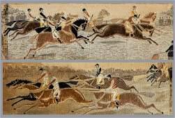 Two framed horse racing stevengraphs, silkwork pictures
