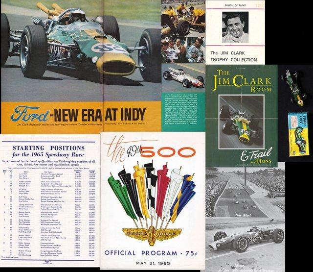 Jim Clark 1965 Indianapolis 500 and other memorabilia,