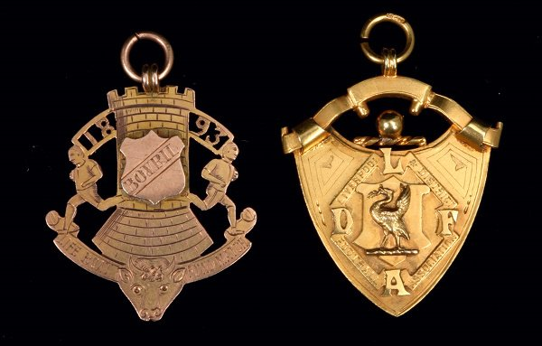 1: Two gold medals awarded to R Williams of Everton in