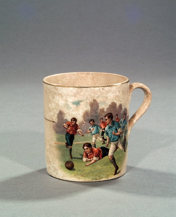 15: A Victorian pottery mug, with a colour transfer pri