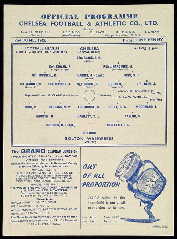 185: Chelsea v Bolton Wanderers 1945 Football League Wa