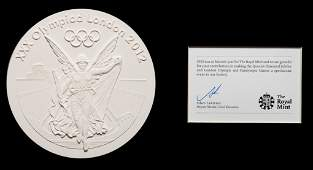 A Royal Mint plaster cast of the London 2012 Olympic