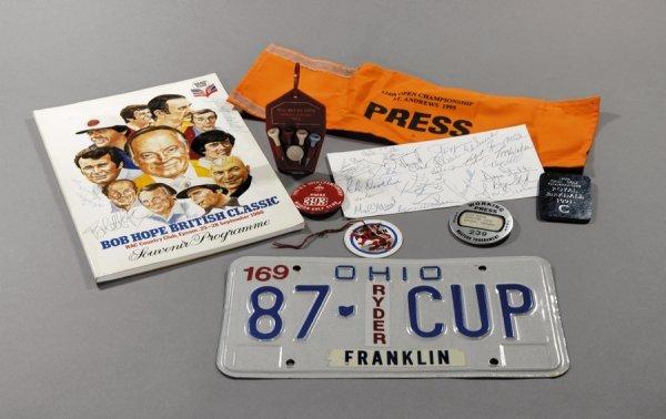 24: Golf memorabilia, including a qty. of press passes,