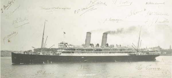 165: A b&w photograph of the R.M.S. Orvieto signed by t