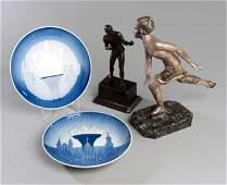 Decorative sporting memorabilia, comprising two Bing &