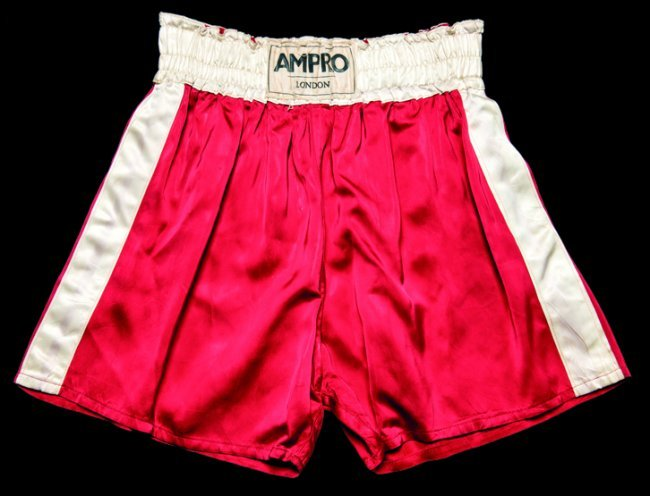 The boxing trunks worn by Cassius Clay in the fight v