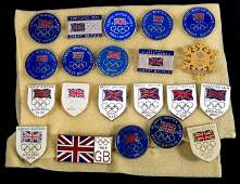 A collection of 21 Great Britain Olympic Team badges