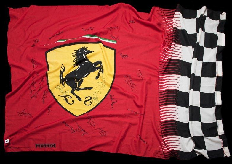 Large Ferrari flag signed by the Ferrari Formula 1 team