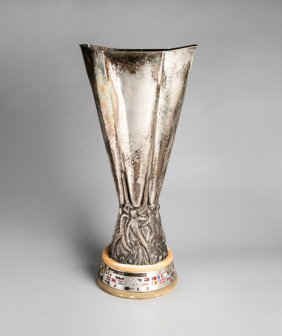 A full-size replica of the UEFA Europa League Trophy