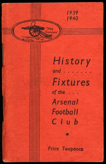 Arsenal handbook from the abandoned 1939-40 football
