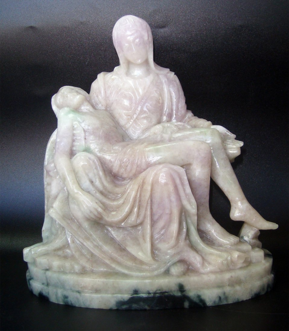 "7"" MICHELANGELO PIETA HAND-CARVED IN LAVENDER JADE"