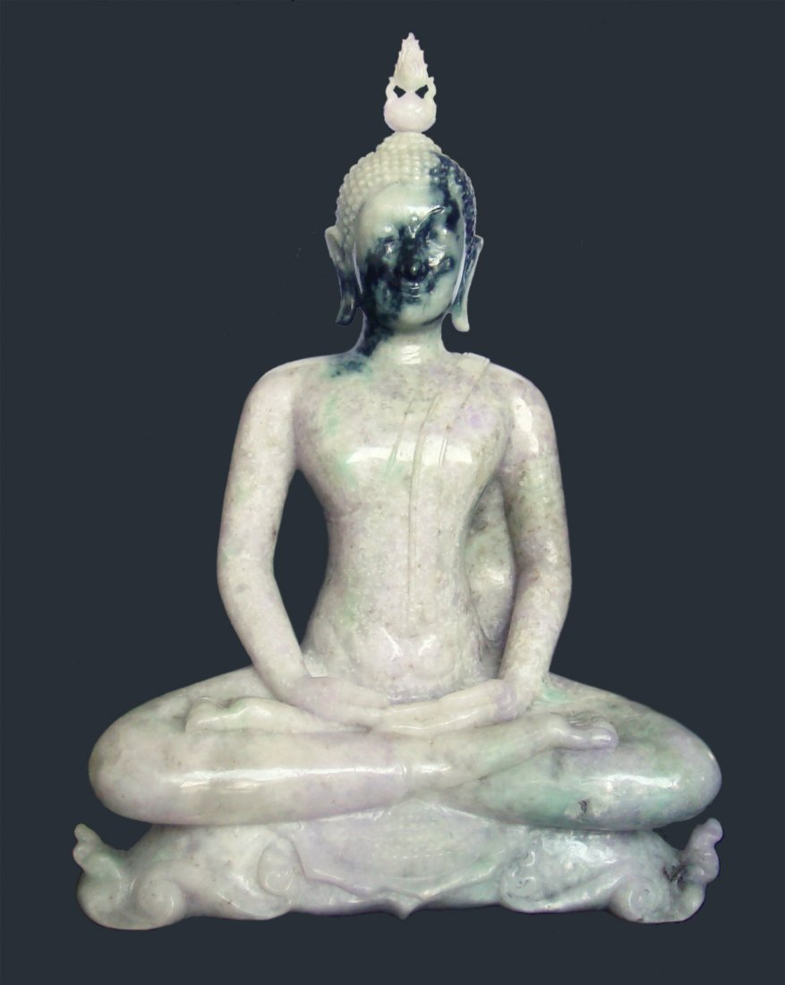 "12"" THAI BUDDHA HAND-CARVED IN LAVENDER & GREEN JADE"