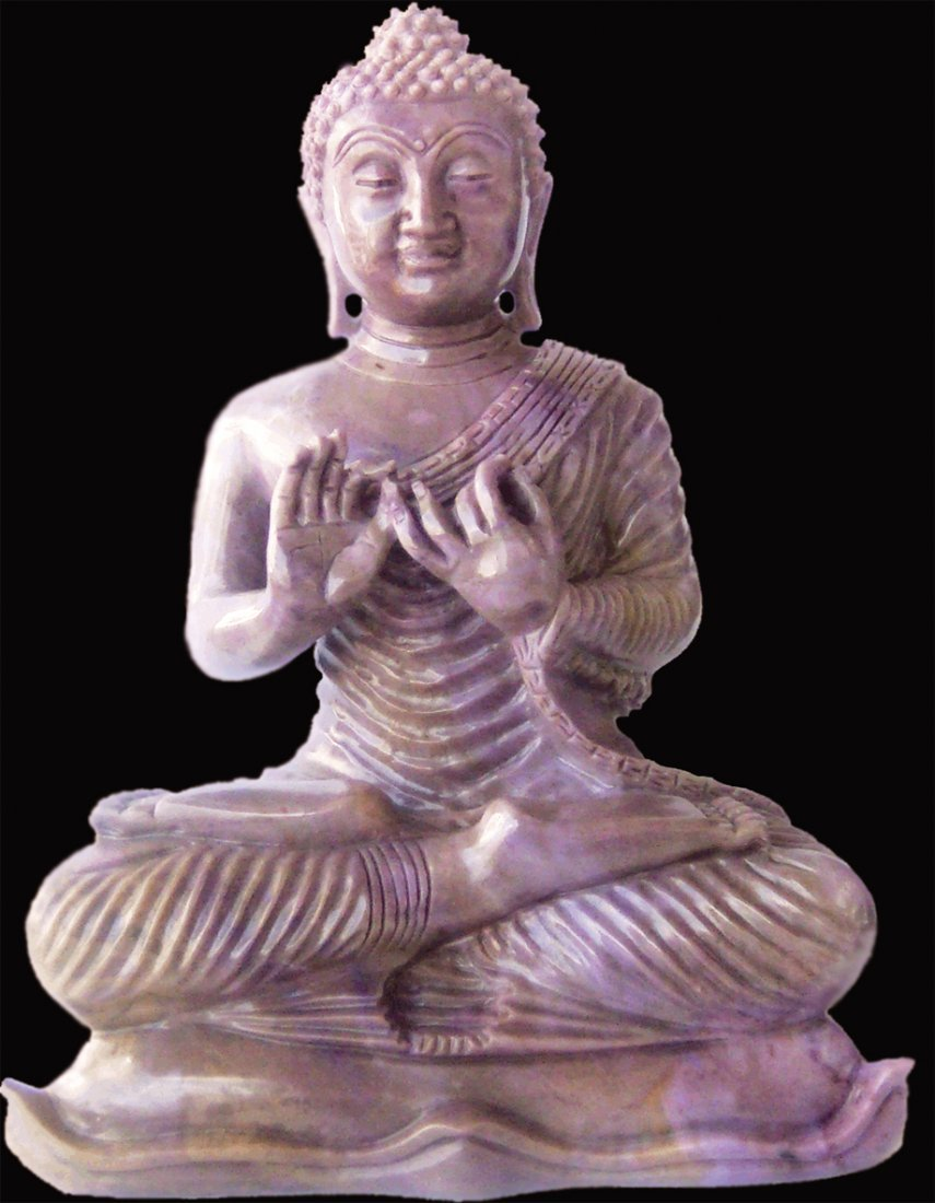 "6"" CHINESE-STYLE BUDDHA: HAND-CARVED IN PURPLE JADE"