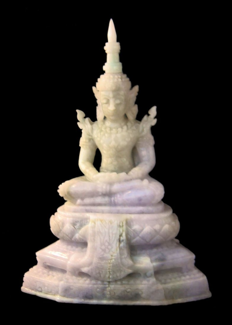 "6"" THAI IMPERIAL BUDDHA HAND-CARVED IN LAVENDER JADE"