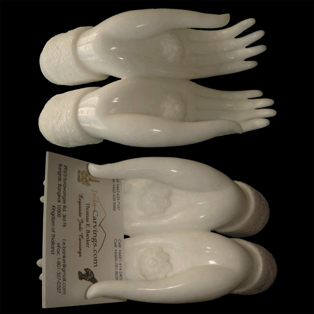 THAI DIN-RAM HANDS CARD-HOLDER IN PURE ALABASTER