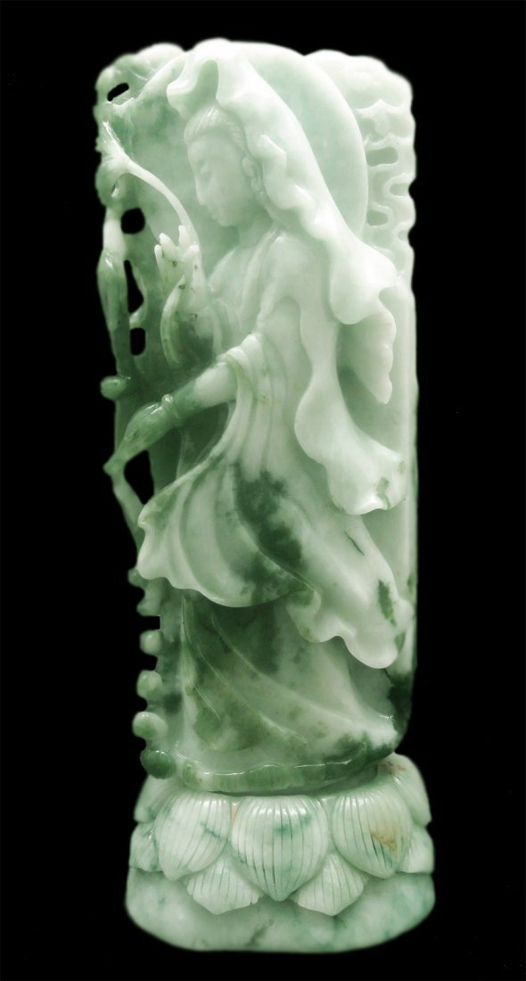 "7.5"" KWAN YIN PROFILE SCULPTURE: HAND-CARVED GREEN JADE"