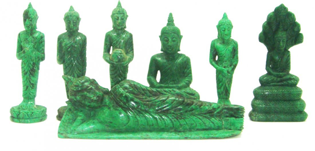 7- DAY BUDDHA-SET: HAND-CARVED IN MAW SITSIT JADE