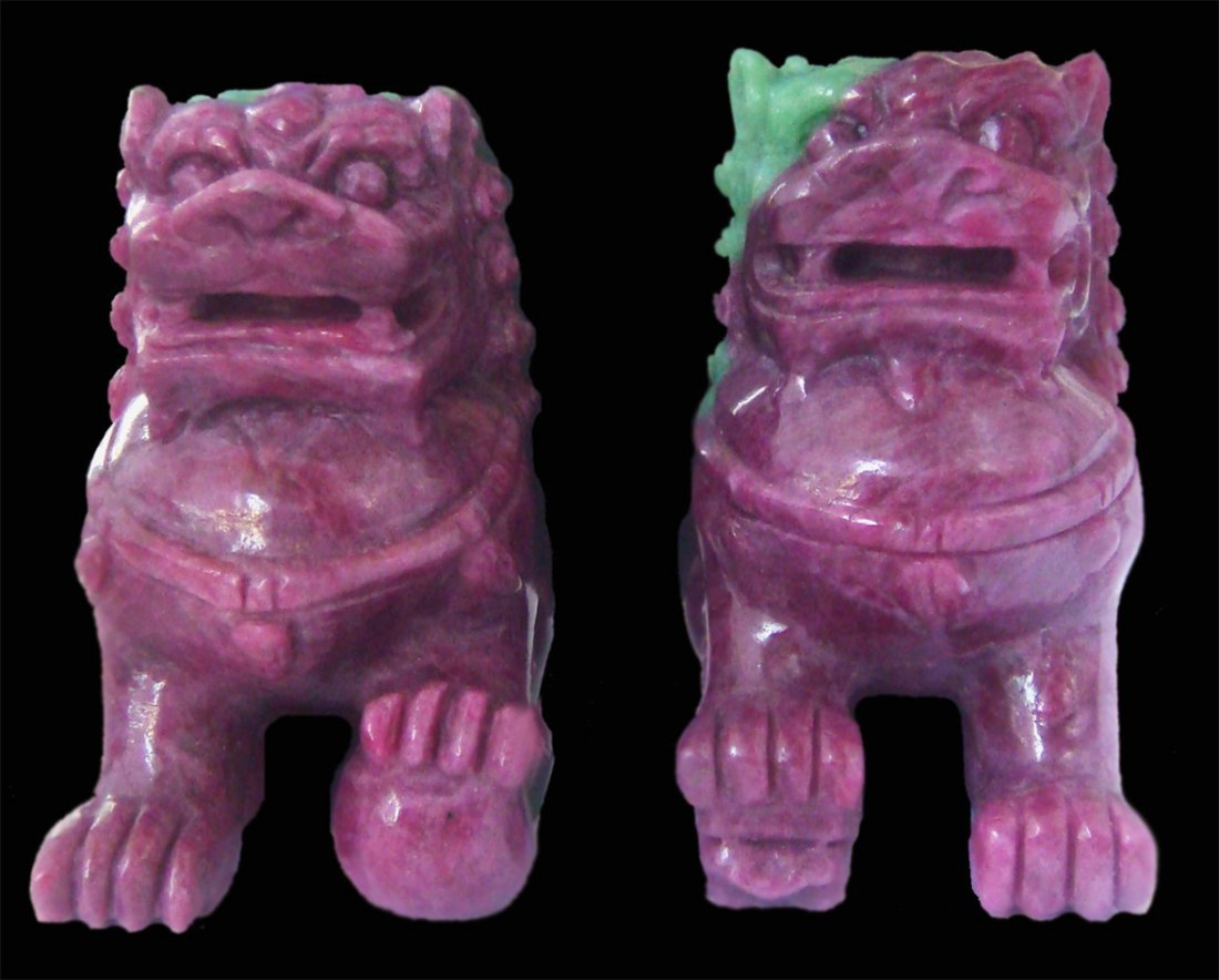 PAIR OF 60mm HAND-CARVED RUBY CHINESE GUARDIAN LIONS