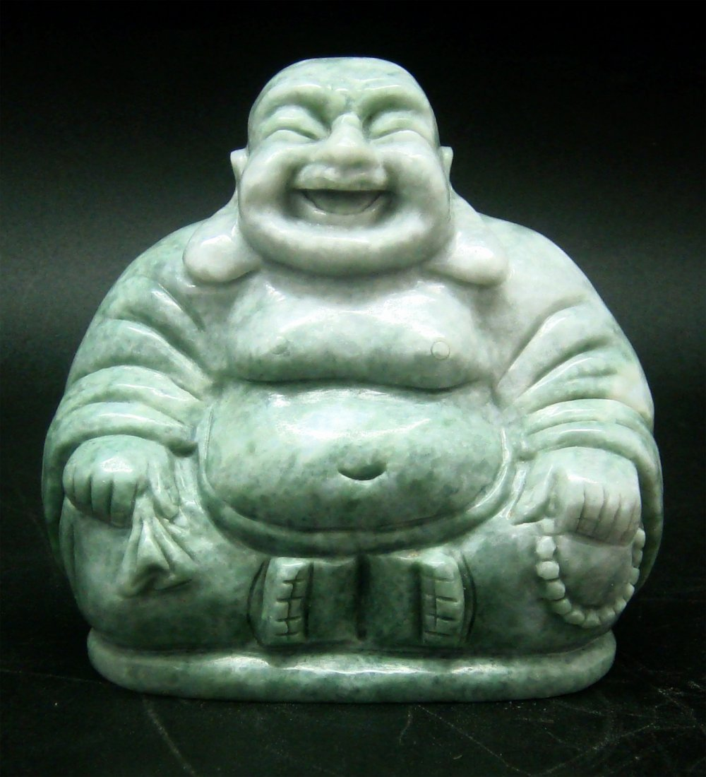"3"" LAUGHING HAPPY BUDDHA STATUE HAND-CARVED IN JADE"