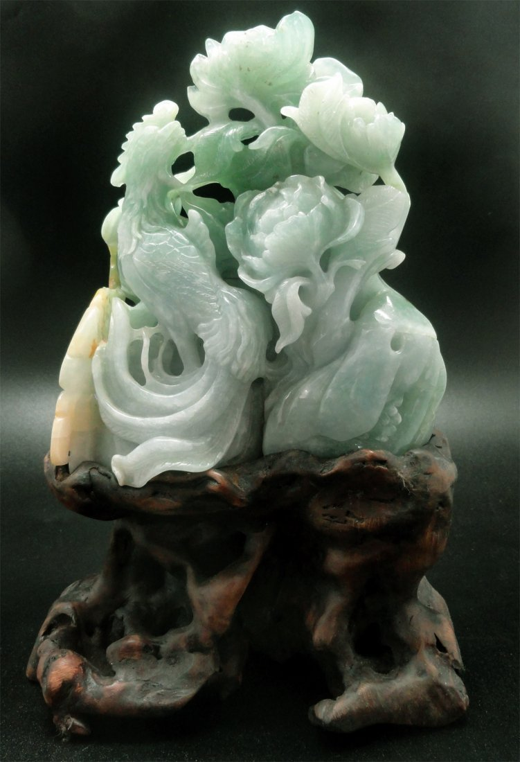 "5"" PHOENIX & FLOWER SCULPTURE: FINE TRANSLUCENT JADE"