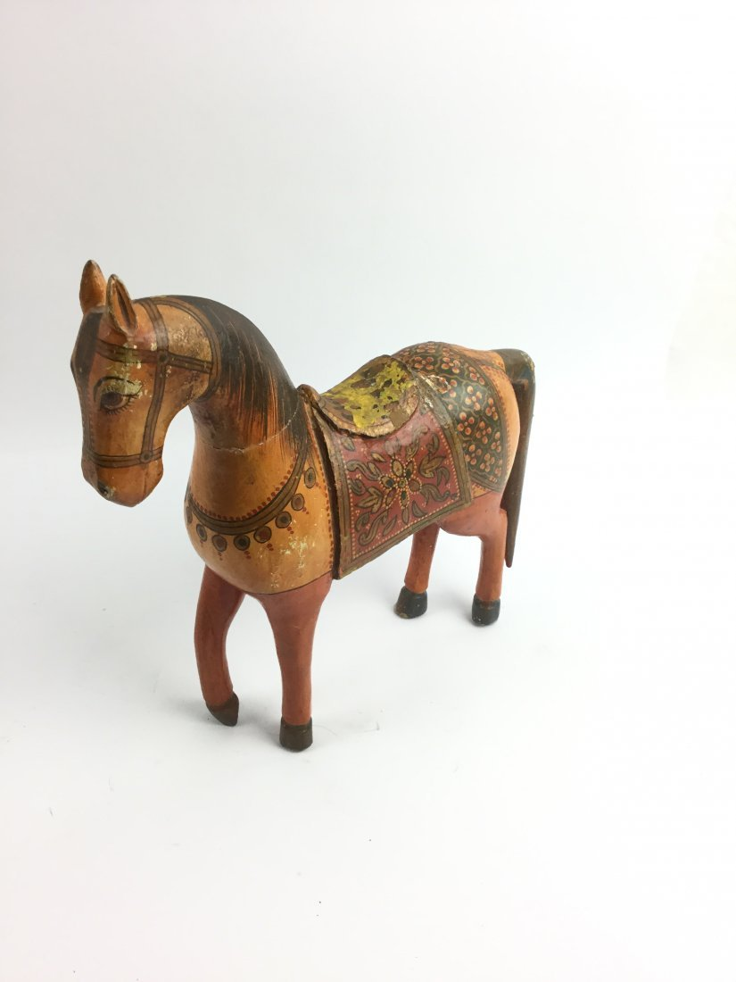 Rare & Beautiful Indian Hand Carved And Painted Horse