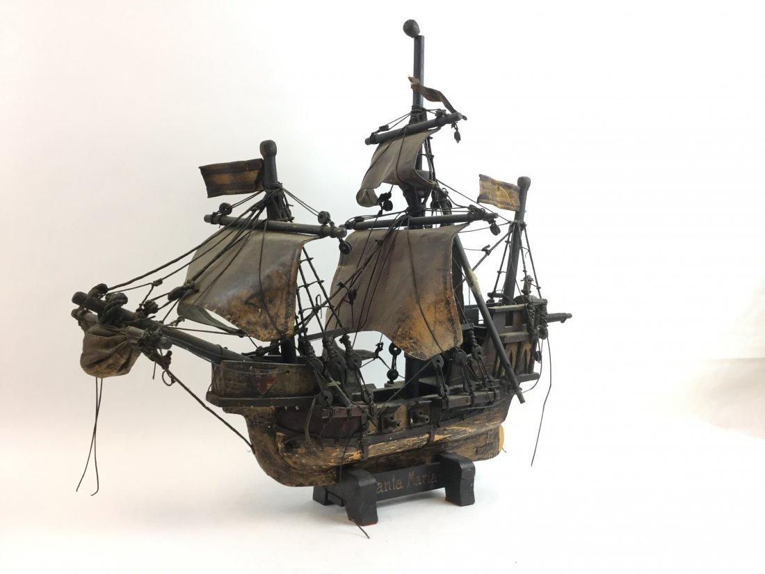 Vintage Wooden & Leather Santa Maria Model Ship