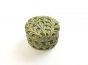 Carved Soapstone Leaf Design Trinket Box