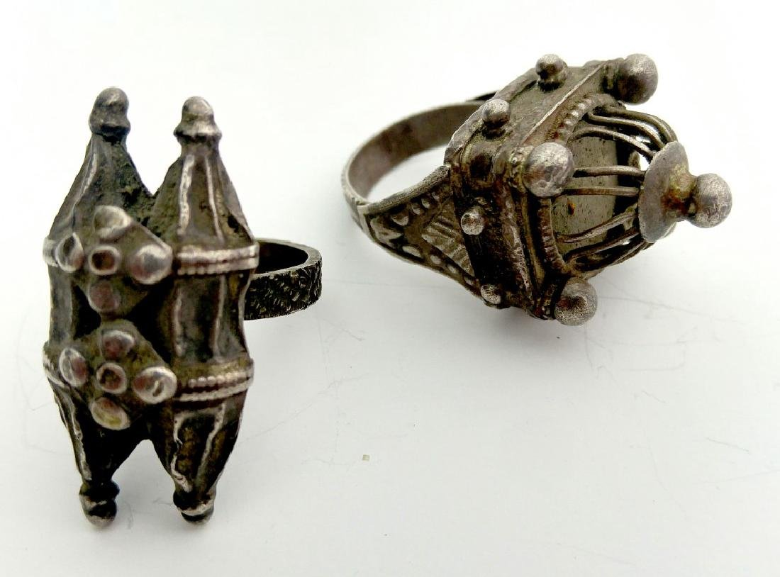 A Pair of Ancient Jewish Rings - Silver - the 19th