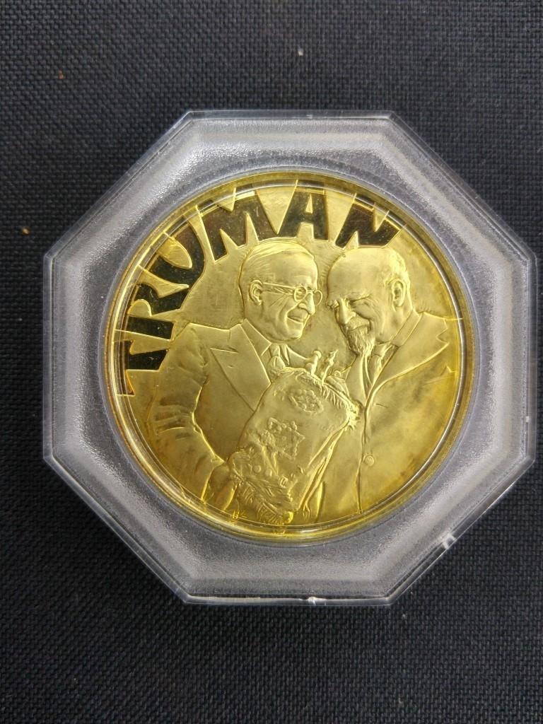 18k Gold Medal - Truman and Weizmann, USA 1973 - 6