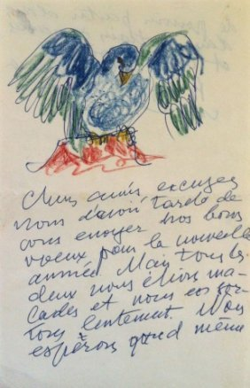 Handwritten Letter With An Illustration And Signature