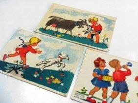 3 Children's Postcards By Erna Kneller - Signed -
