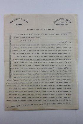 Long Halachic Responsa From Rabbi Zvi Pesach Frank -