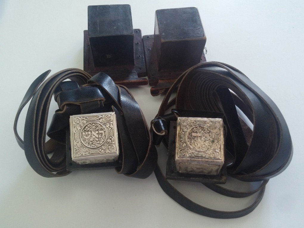 Two Pairs of Ancient Tefillin - Minature Tefillin with