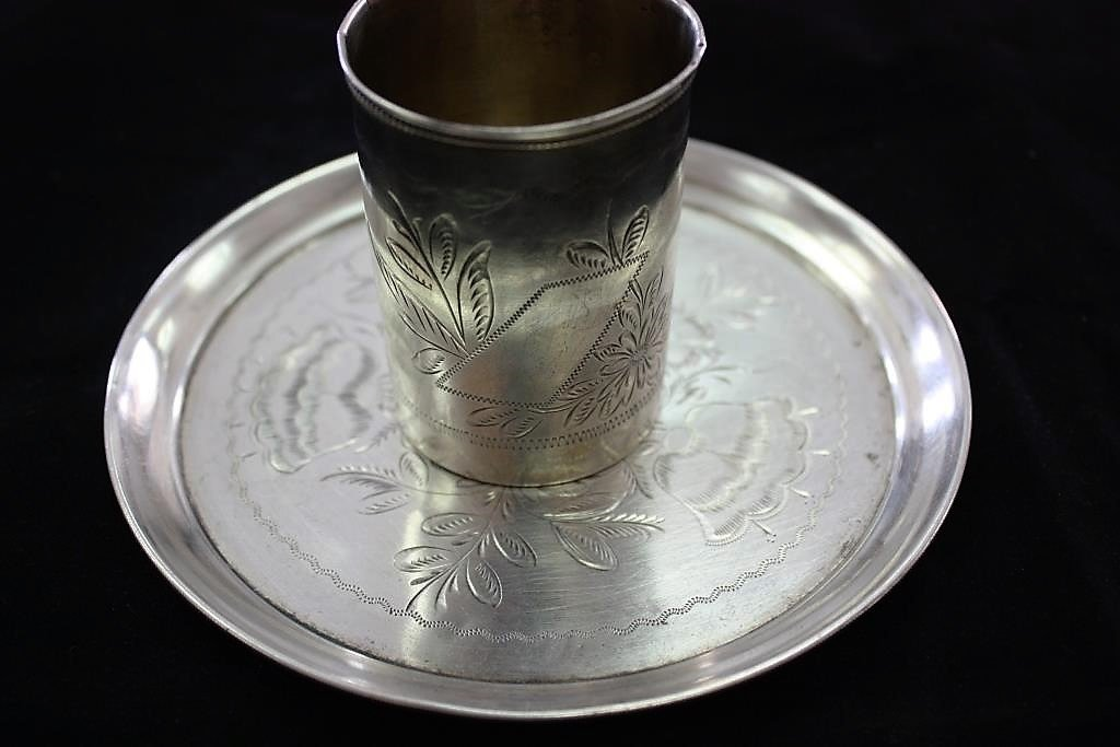 Kiddush Cup and Plate - Silver 84 - Russia under the