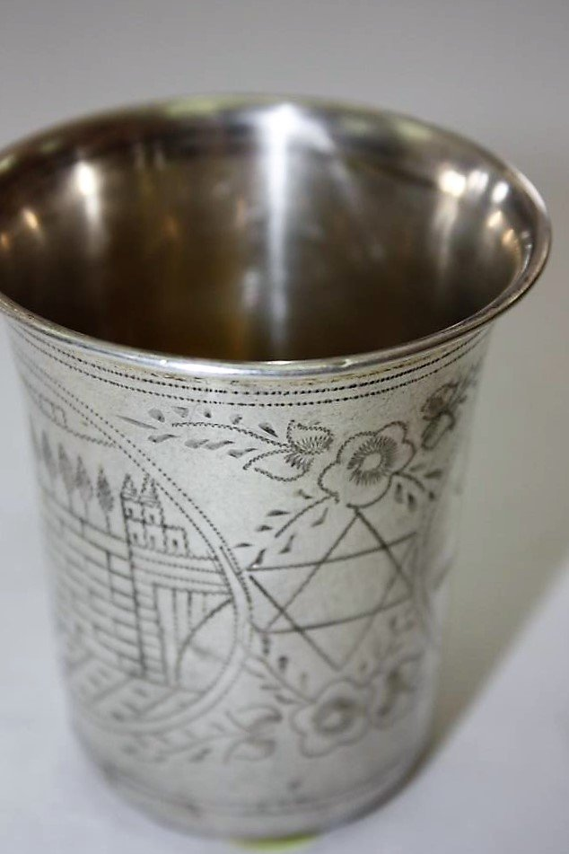 Silver Kiddush Cup - the Tomb of Rachel and the Cave of