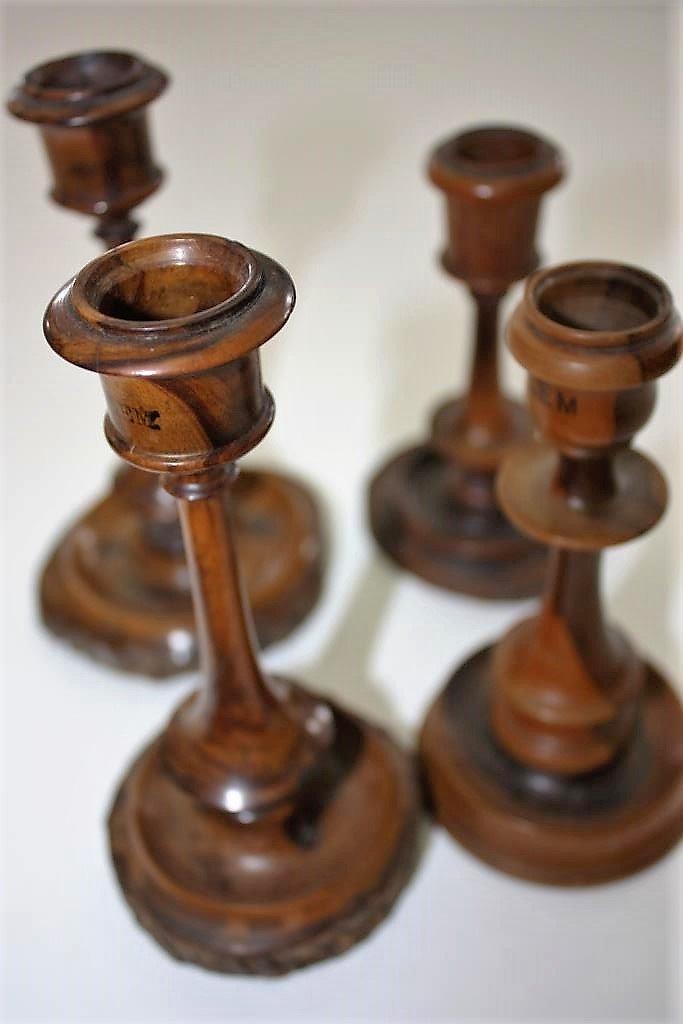 Collection of Old Olive Wood Candlesticks - Jerusalem
